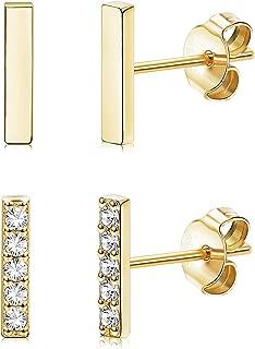 2 Pairs 925 Sterling Silver Bar Stud Earrings for Women Men White Gold Plated CZ Bar Earrings Set Rectangle Line Earrings Huggie Cartilage Hypoallergenic