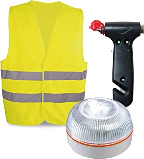 HELP FLASH PK2683 luz AUTÓNOMA señalización Peligro/Linterna, DGT, V16, AUTOMÁTICA + Martillo Emergencia: rompeventanas+Co...