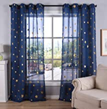 Kotile Navy Blue Sheer Curtains 84 Inches Length for Living Room, Romantic Starry Sky Theme Draperies Ring Top Gold Stars Print for Kids/Bedroom, W52 x L84 Inches, 2 Panels