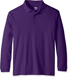 Classroom School Uniforms Mens 58734.0 Adult Unisex Long Sleeve Interlock Polo Long Sleeve Polo Shirt
