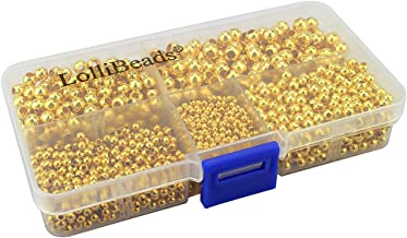 LolliBeads (R) Gold Plated Smooth Round Metal Beads Assorted Size Jumbo Pack 2100 pcs