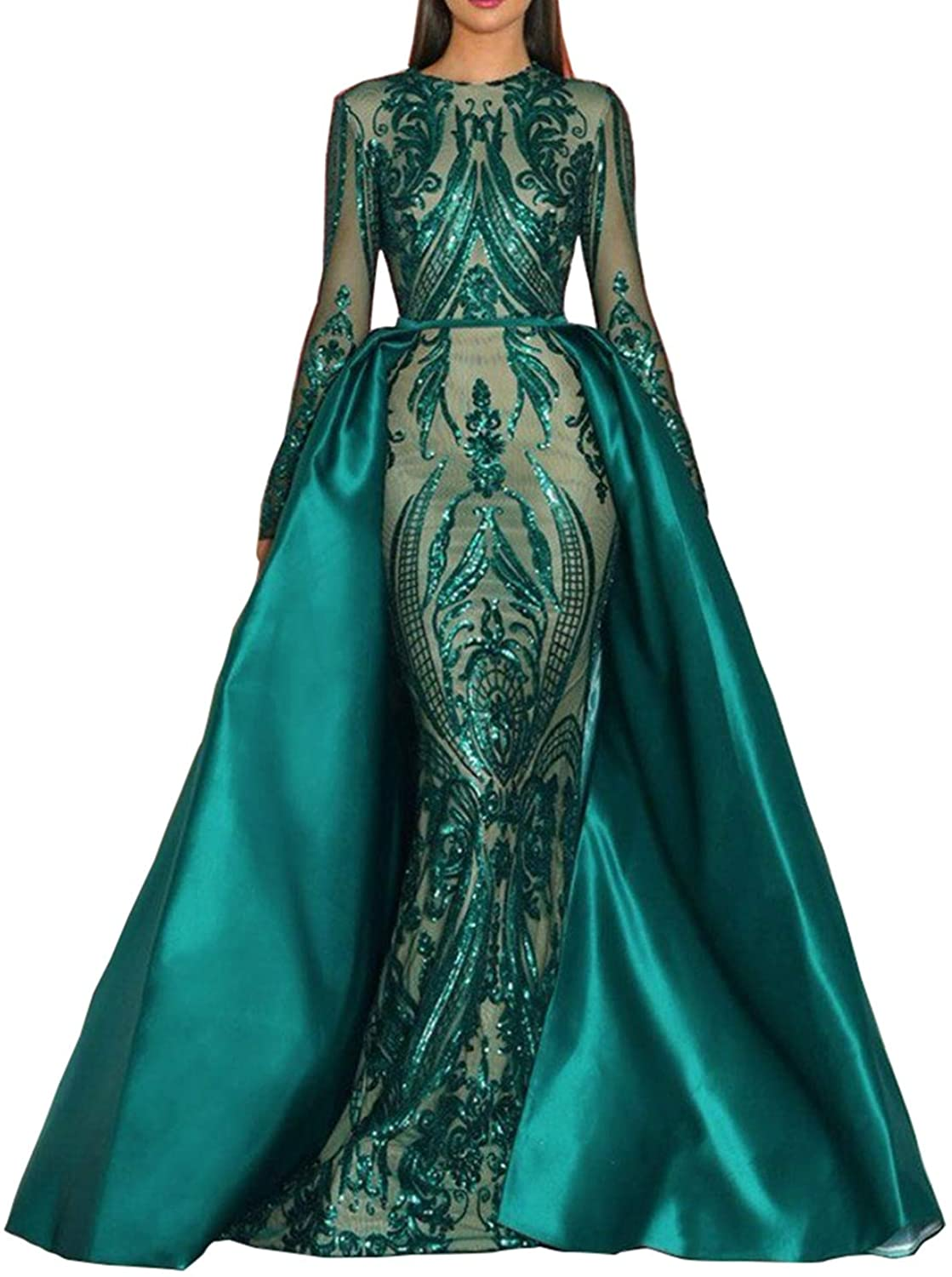 Aries Tuttle Green/Burgundy/Navy Blue Satin Mermaid Prom Evening Party Dress Gown Detachable Train