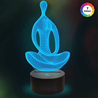 Meditation-Figure 3D Yoga Night Light Sleep Aid Bedside Glow Lamp 7 Color Changes Xmas Halloween Birthday Gift for Child Kids