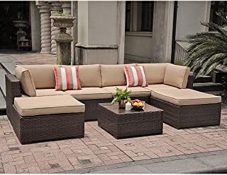 SUNSITT 7 Piece Outdoor Sectional Patio Rattan Furniture Set, Brown Wicker Conversation Sofa Set with Ottoman & Coffee Table, Beige Cushions