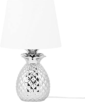 Modern Bedside Lamp Light with White Fabric Shade Silver Pineapple