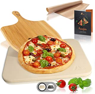 Amazy Pierre à Pizza avec Pelle à Pizza, Papier Cuisson réutilisable et livret de Recettes- La Plaque de Cuisson Donne à V...