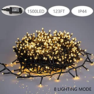 FUCHSUN $$$ 123FT Led String Light Christmas Decoration Waterproof Lights Warm White 8 Lighting Mode Plug in Indoor Outdoor for Home Garden Patio Yard Party and Wedding(1500LED)