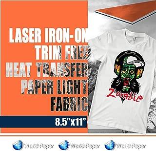 25 SHEETS Laser Iron-On TRIM FREE Heat Transfer Paper Light fabric 8.5