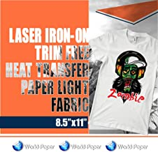 25 SHEETS Laser Iron-On TRIM FREE Heat Transfer Paper Light fabric 8.5