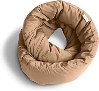 Huzi Infinity Pillow - Design Travel Pillow and Soft Neck Support Pillow - Machine Washable (Tan)