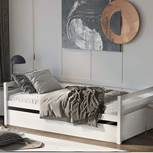 new arrival Giantex Wood Daybed with a Trundle, Twin Trundle Daybed with Durable Slat Support, Easy Assembly - No online sale Box Spring Needed, Standard Twin Bed Sofa for Living Room Guest Room online Children Room (White) online