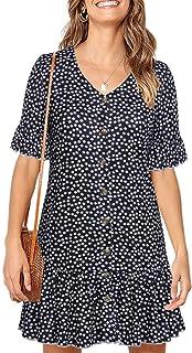 Lamilus Women's Polka Dot V Neck Button Down Ruffles Casual Loose Swing Short Mini T-Shirt Dress