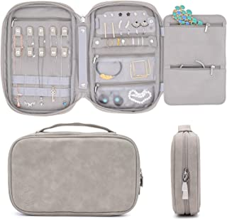 storageLAB Travel Jewelry Organizer, Faux Suede Clutch Bag for Necklaces, Earrings, Rings and Bracelets (Grey)