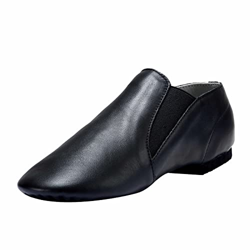 Dynadans Womens Leather Upper Slip-on Jazz Shoe with Elastics Black