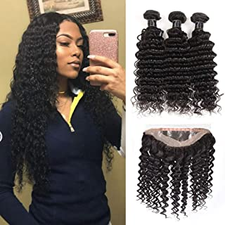 Brazilian Virgin Deep Wave Hair 360 Lace Frontal with Bundles 9A Grade 100% Unprocessed Deep Curly Human hair 3 Bundles With 360 Lace Frontal (18 20 22+16 360 lace frontal)