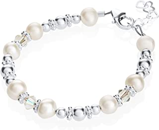 Elegant White Cultured Fresh Water Pearls and Swarovski Crystals with Sterling Silver Beads Luxury Keepsake Toddler Girl Bracelet Gift (BFWSC_All)