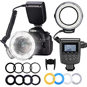 Neewer R-160 160 Pieces 5600K 10W Mini LED Macro Ring Light with 6 Adapter Rings 49mm//52mm//55mm//58mm//62mm//67mm for Macro Canon//Nikon//Sony//Sigma//Tamron Lens