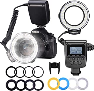 Neewer RF550D 48 Macro LED Anillo Flash Bundle con Pantalla LCDControl de PotenciaAnillos Adaptadores y Difusores Flash