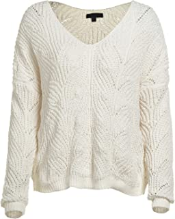 Women's Solid Knit Long Sleeve V Neck Eyelet Sweater