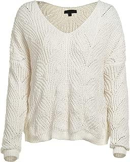Women's Solid Knit Long Sleeve V Neck Eyelet Sweater