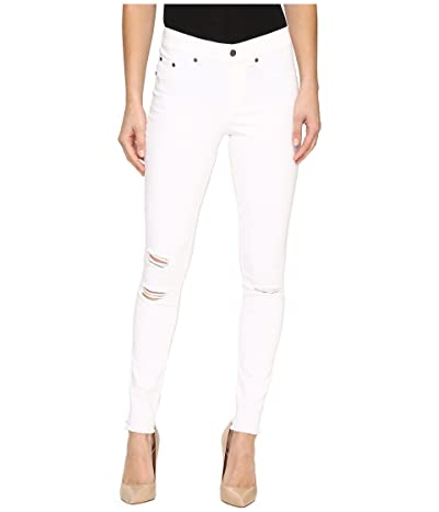 HUE Ripped Knee Denim Leggings (White) Women