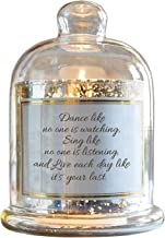 CB Gift Heartfelt Collection-Lustre Cloche Dome Candle Holder, Glass Metal Plastic Wax, Dance Sing Live, 5.5 x 7-Inches