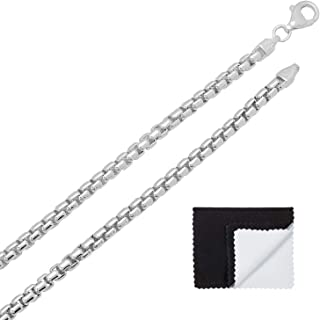 3.5mm .925 Sterling Silver Nickel Free High-Polished Silver Square Box Chain Necklace, 7