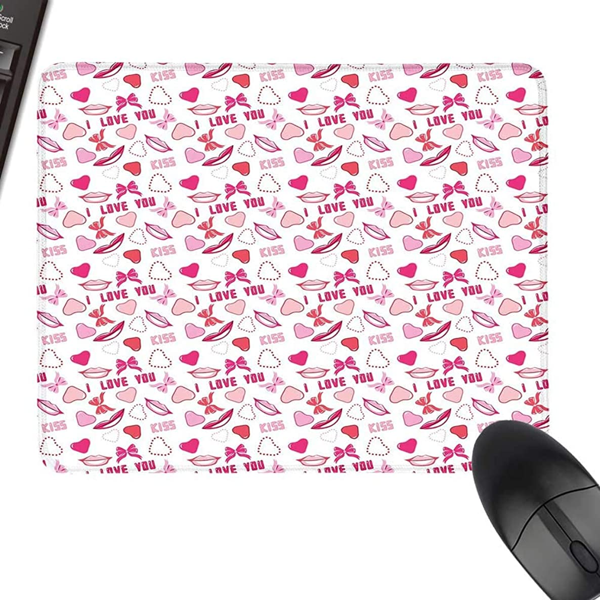 I Love You Hot Selling Extra Large Mouse Pad Romance Related Images in Pink Pattern with Bows Lips Valentines Hearts with Stitched Edges 11.8