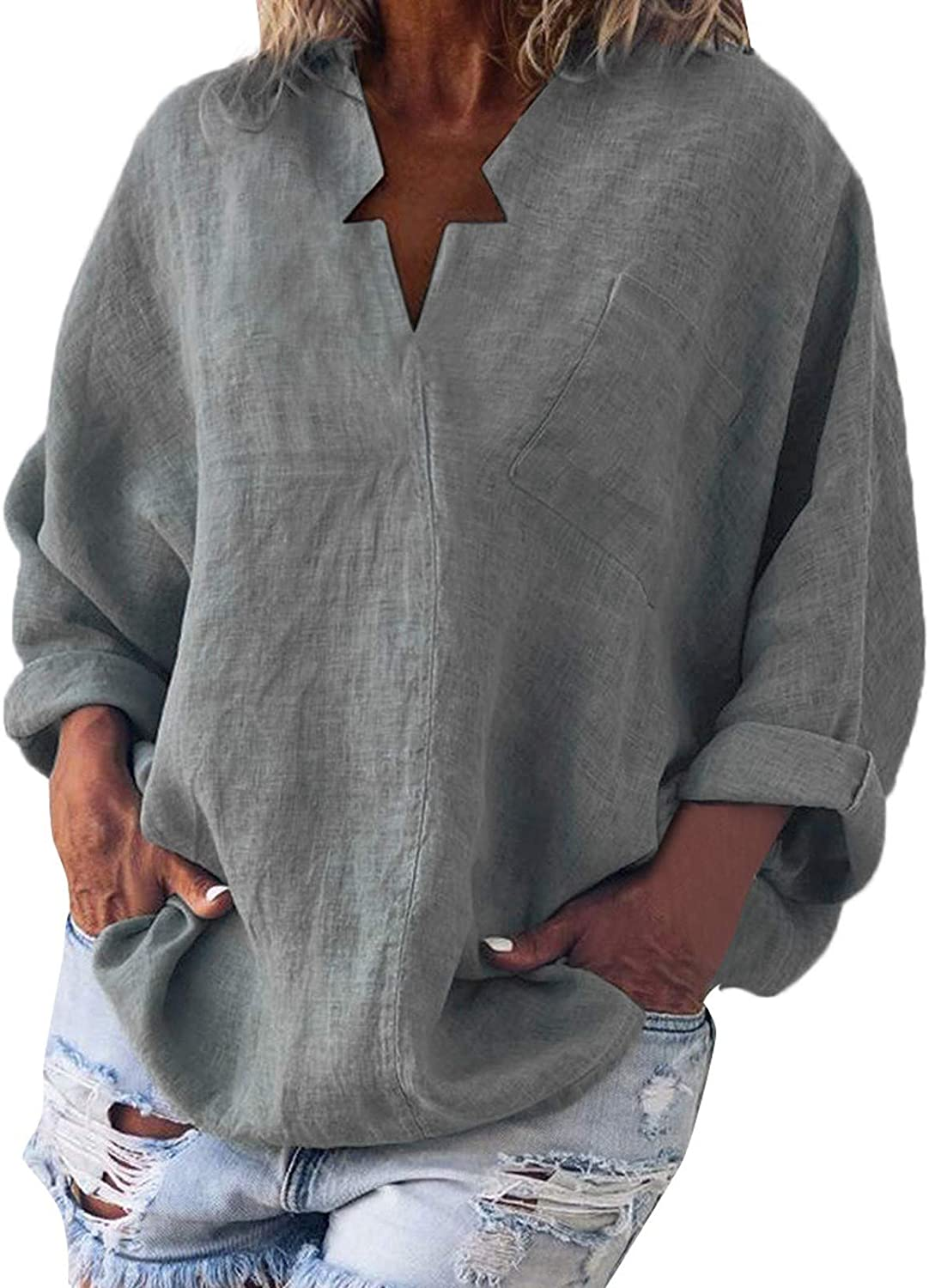 Long Sleeve Shirt Women Bat-Sleeve Loose Pullover Blouse Solid Cotton and Linen Tunics V-Neck Casual Pocket Tops
