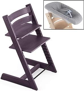 Stokke 2019 Tripp Trapp Plum Purple Chair & Grey Newborn Set Bundle