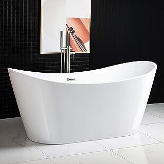 WOODBRIDGE Acrylic Freestanding Bathtub Contemporary Soaking Tub with Brushed Nickel Overflow and Drain BTA1515-B,White, 6...