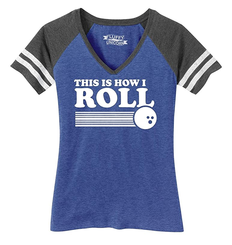 Comical Shirt Ladies This is How I Roll Funny Bowling Shirt Game V-Neck Tee