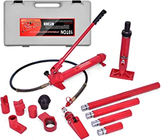 Goplus 10 Ton Porta Power Hydraulic Jack Air Pump Lift Ram, Auto Body Frame Repair Tool Kit with Carrying Case, Perfect for Automotive, Truck, Farm and Heavy Equipment Repair (10 Ton)