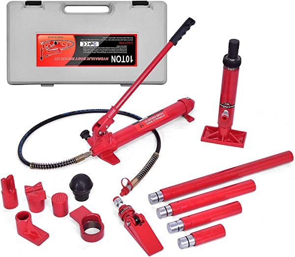 Goplus 10 Ton Porta Power Hydraulic Jack Air Pump Lift Ram Auto Body Frame Repair Tool Kit With Carrying Case Perfect For Automotive Truck Farm And Heavy Equipment Repair 10 Ton