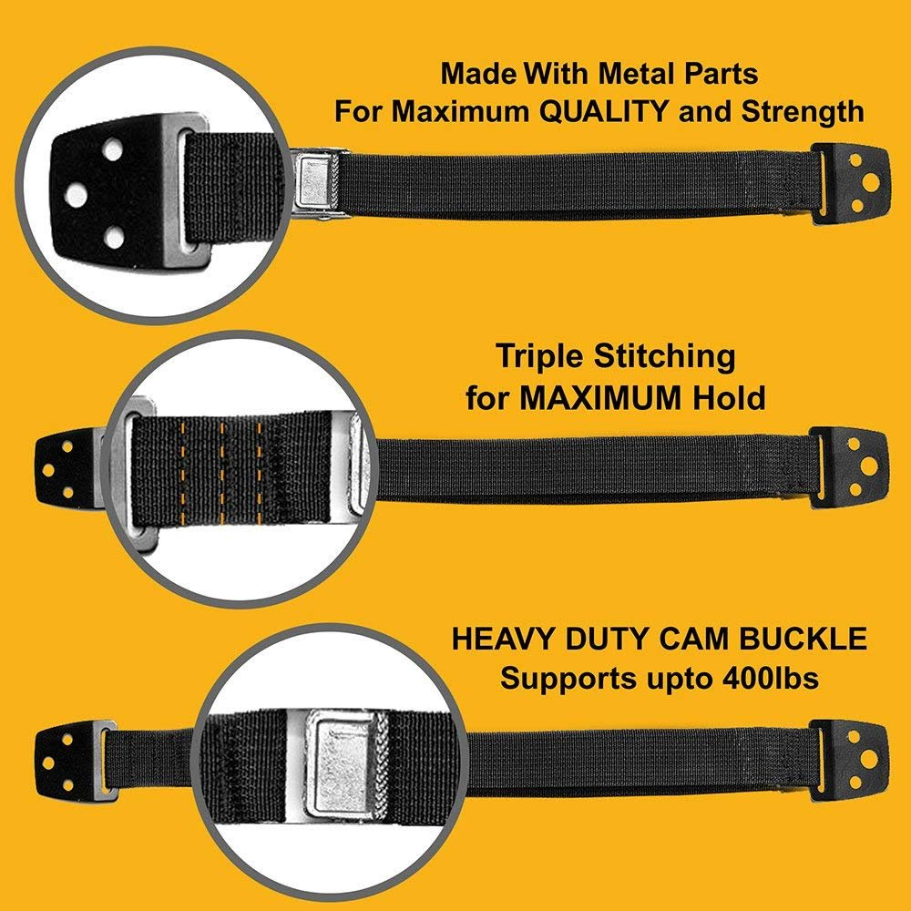 Skyla Homes - TV & Furniture Anchors (4-Pack) - Metal Anti Tip Wall Mount Straps for Baby Proof Safety, Best Adjustable Earthquake Resistant Strap, Child Proofing, Extra Secure Kit by Skyla Homes