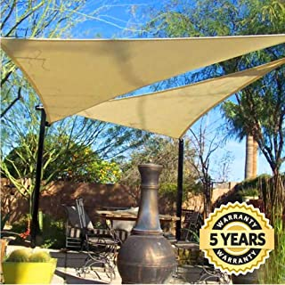 Quictent 20 x 20 x 20 ft Triangle 185GSM Sun Shade Sail Canopy 98% UV-Blocked for Patio Outdoor Activities (Sand)