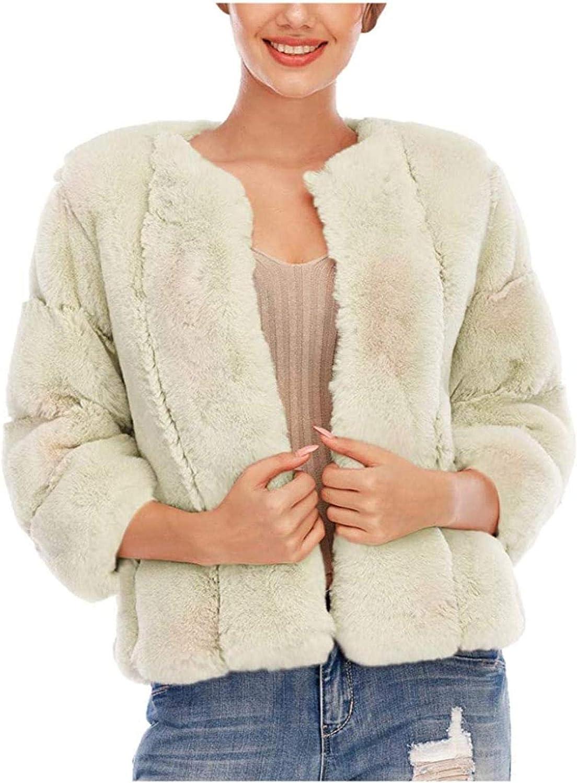 Women Plus Size Short Faux-Fur' Coat Warm Furry Jacket Long Sleeve Outerwear