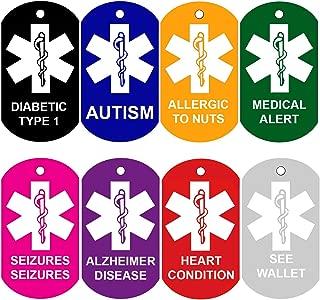 CNATTAGS Set of 2 Medical Alert ID Tags | Personalized Front and Back | Medical Alert Logo | Medical Pet Tag Dog Tag