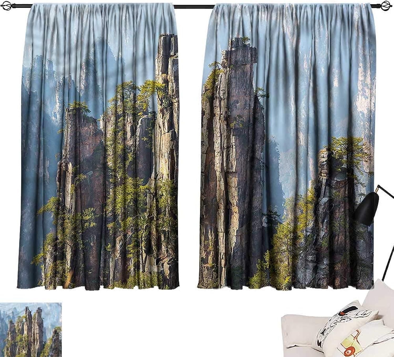 Jinguizi Drapes Draperies Darkening Curtains National Park,Wonders of World,Household Curtain for Kids Room W55 x L63