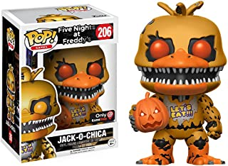 Funko Jack-o-Chica (GameStop Exclusive) POP! Games x Five Nights at Freddy's Vinyl Figure + 1 Official FNAF Trading Card Bundle (13737)