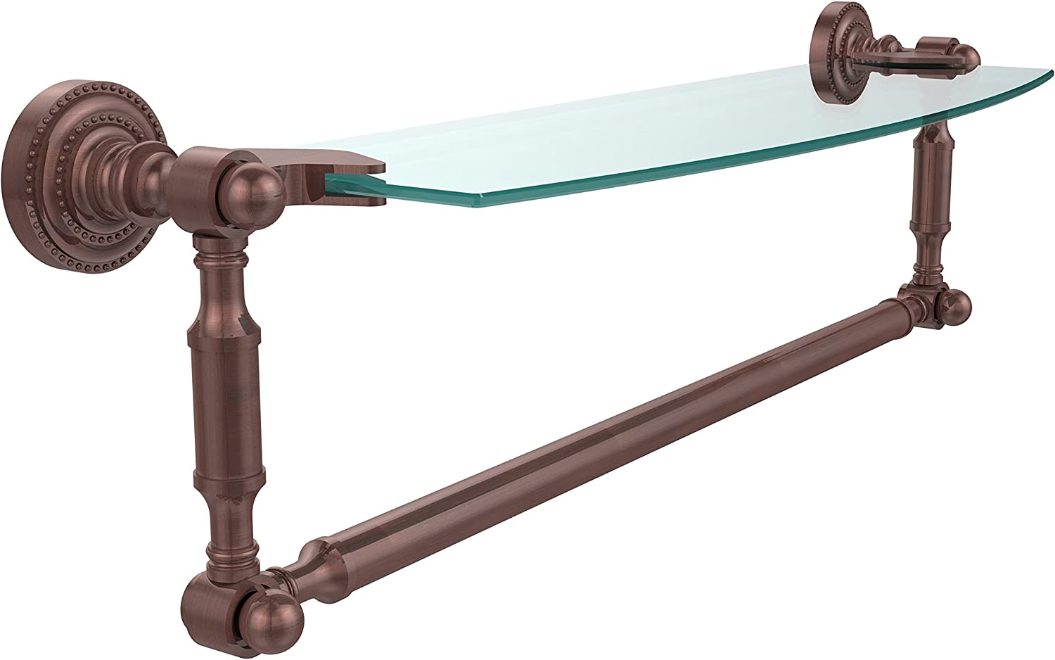 Allied Brass DT-33TB 18-CA Glass Shelf with Towel Bar, 18-Inch x 5-Inch, Antique Copper