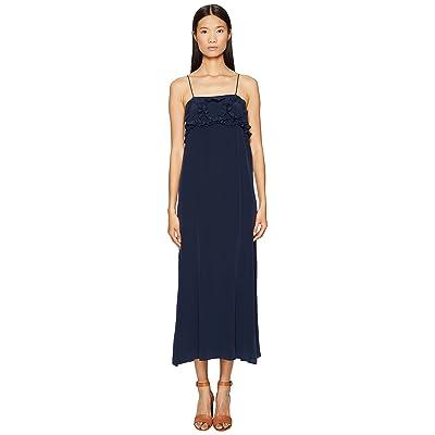 See by Chloe Crepe Ruffle Maxi Dress (Blue Diamond) Women