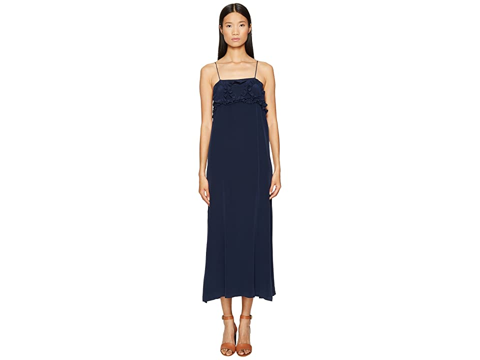 514946c9b13 See by Chloe Crepe Ruffle Maxi Dress (Blue Diamond) Women s Dress