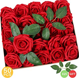 AmyHomie Pack of 50 Real Looking Artificial Roses w/Stem for DIY Wedding Bouquets Centerpieces Arrangements Party Baby Shower Home Decorations (red)