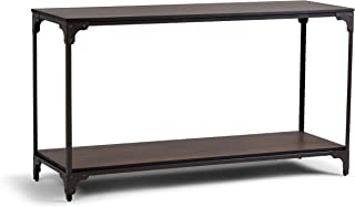Simpli Home 3AXCNTT-04 Nantucket Solid Mango Wood and Metal 54 inch Wide Modern Industrial Console Table in Walnut Brown