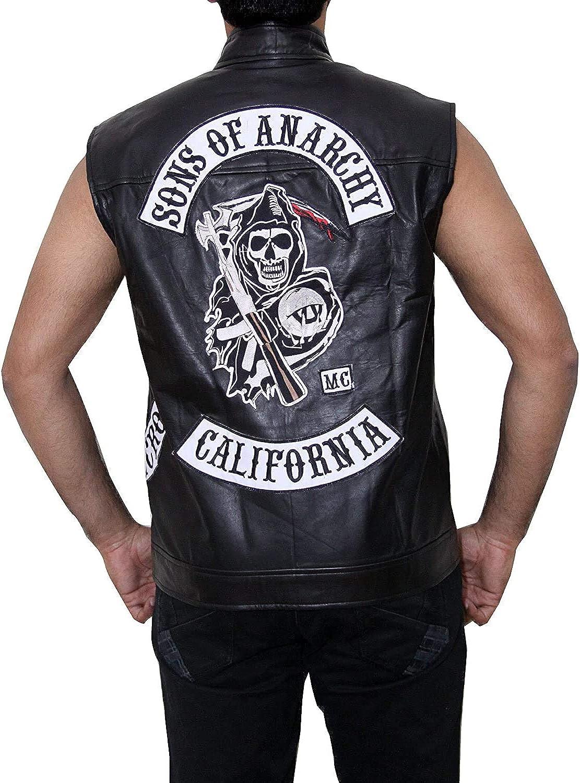 Black Faux Biker Leather Sons of Anarchy Vest Jacket for Men.