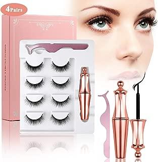 Magnetic Eyeliner and Lashes Magnetic Eyelashes Kit, Reusable Eyelashes Natural Look Full Eye with Tweezers, No Glue Needed