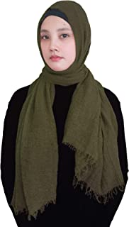 Solid Color Crepe Crinkled Scarf Hijab with Frayed Edges