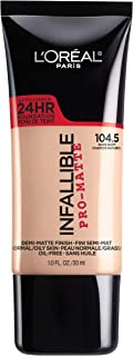 L'Oreal Paris Makeup Infallible Pro-Matte Liquid Longwear Foundation, Nude Buff 104.5, 1 fl. oz.