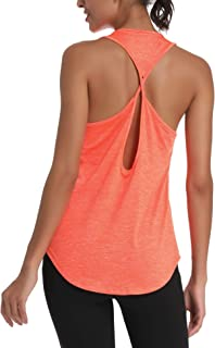 Womens Workout Tops Yoga Shirts Activewear Cute Gym Clothes Athletic Open Back Running Sports Tank Tops